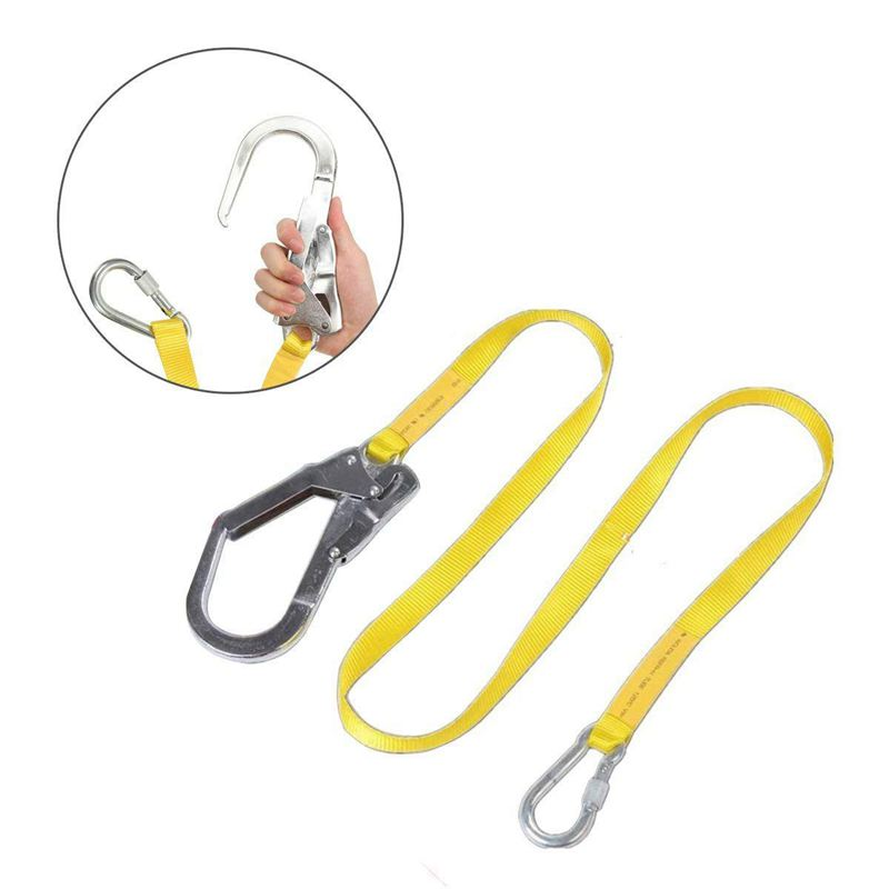 Safety Lanyard, Outdoor Climbing Harness Belt Lanyard Fall Protection Rope With Large Snap Hooks, Carabineer