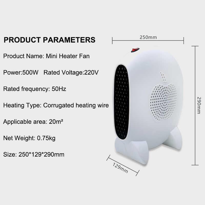 220 فولت سخان منزلي صغير الأشعة تحت الحمراء 500 واط المحمولة الكهربائية مسخن الهواء مروحة دافئة سطح المكتب الفضاء سخان للحمام الشتاء المنزلية