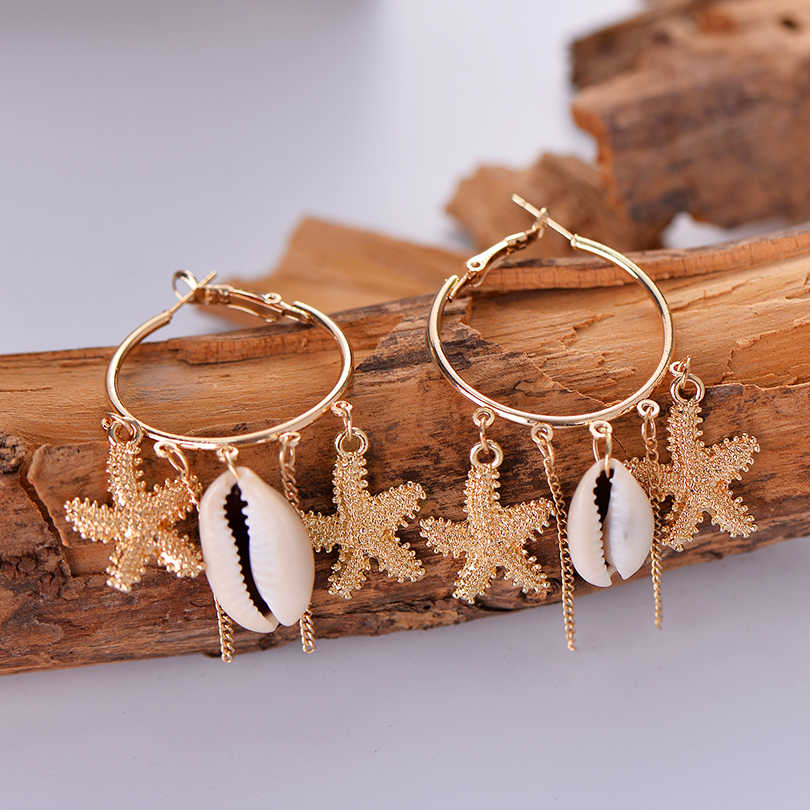 Bohemia Star Charm Beige Shell Earring Punk Gold Alloy Tassel Dangle Earrings For Women Boho Beach Jewelry Accessories