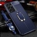 Чехол OceSap для Samsung Galaxy S21 Ultra S21 Plus, кожаный чехол с магнитным кольцом, задняя крышка для Samsung Note 20 Ultra S20 FE, чехол