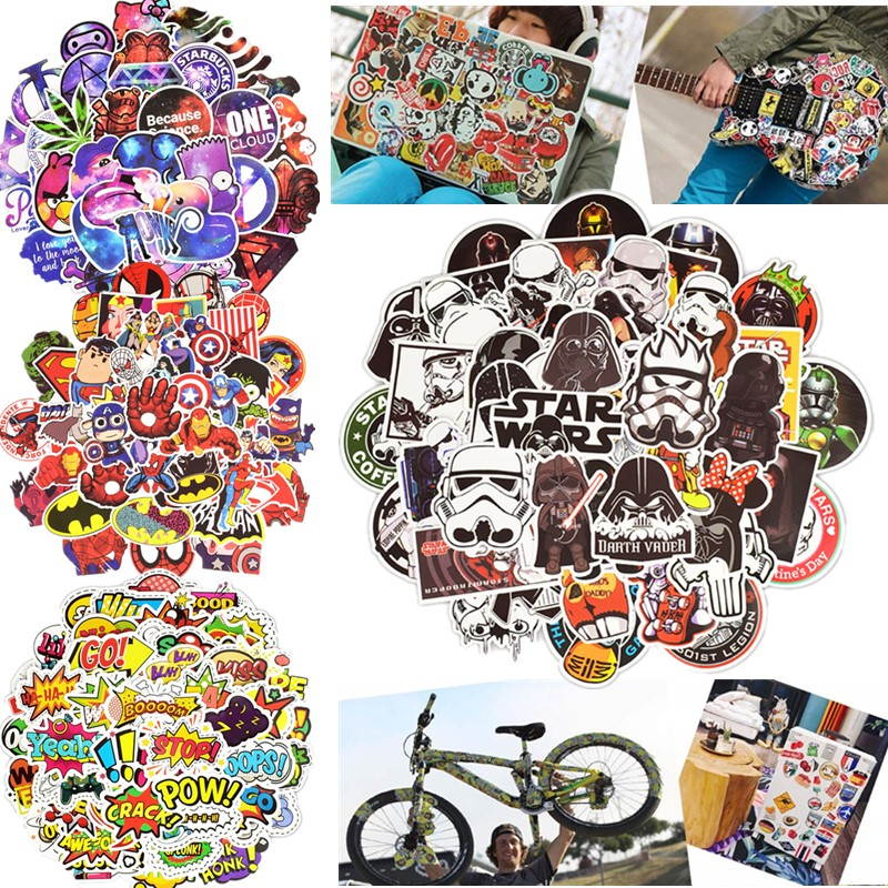 50pcs Waterproof Vinyl Bicycle Stickers Motorcycle Scooter Decals Phone Laptop Travel Luggage Bike Stickers Skateboard Decals