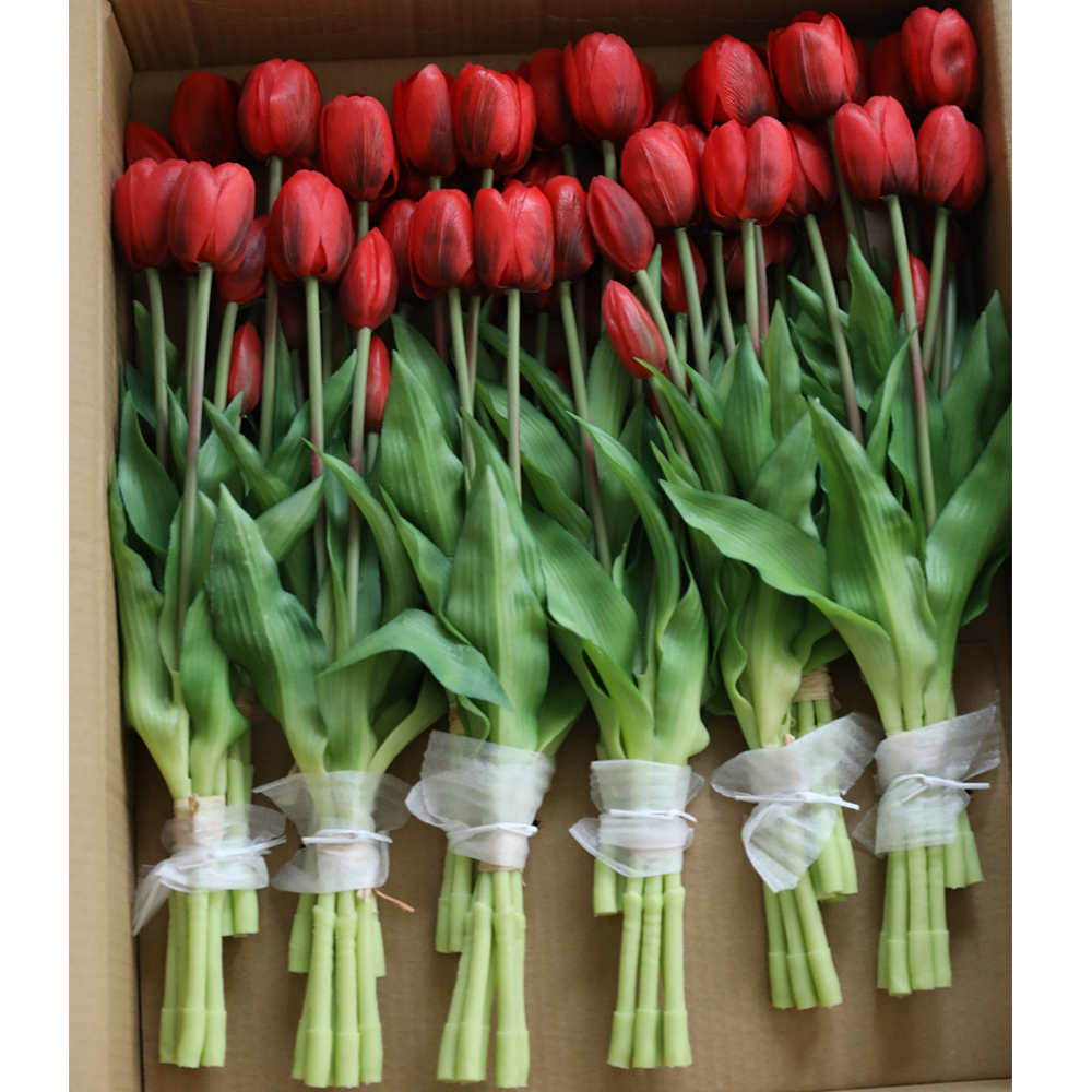 5Pcs bunch Artificial Tulips Flower For Home Wedding Decoration Bride Hand Flowers Real Touch Soft Silicone Tulip flores Decor 12