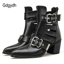 Gdgydh Spring Autumn Women Ankle Boots Hollow Out Sexy Buckle Goth Chunky High Heel Shoes Straps Summer Boots Female Pointed Toe newest solid black buckle strap mid calf peep toe hollow out short boots women spring and autumn high heel shoes free shipping