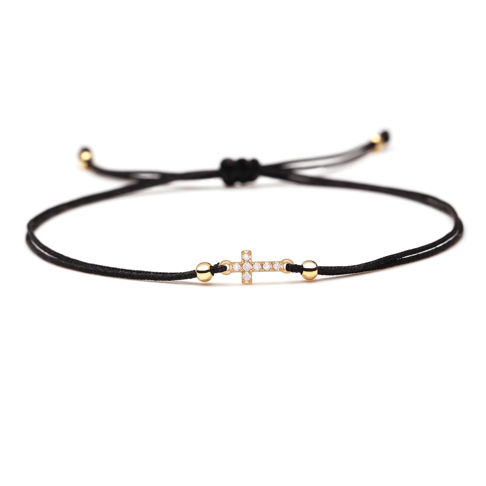 Mini Copper Cross CZ Crystal Silk Thread Braided Bracelets Women Men High Quality Black Pink Red String Tiny Zircon Jewelry Her