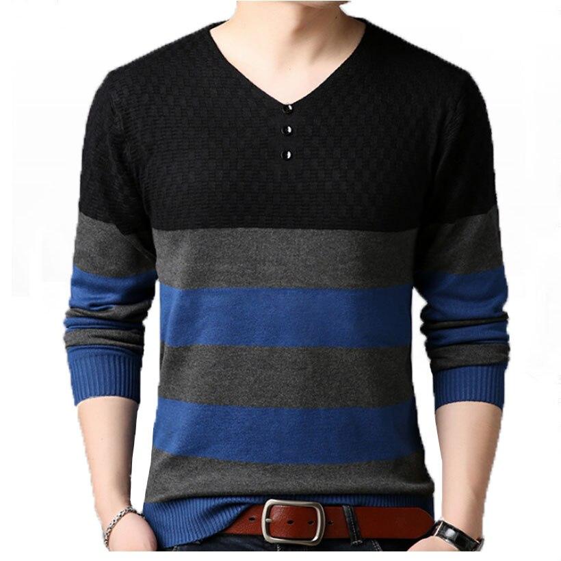 New Autumn Korean Version Of Plus-size Men's Men's Sweater Young Casual Men's Patchwork Sweater Hombre