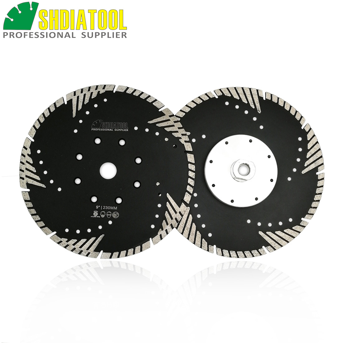 SHDIATOOL 2PCS Hot Pressed Diamond Turbo Blade With Slant Protection Teeth (230mm)cutting Disc With M14 Flange