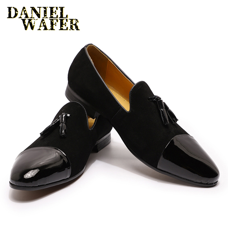 Casual Dress Men Tassel Loafers Suede Patchwork Patent Leather Shoe Black Brown Slip On Cap Toe Office Wedding Leather Shoes Men
