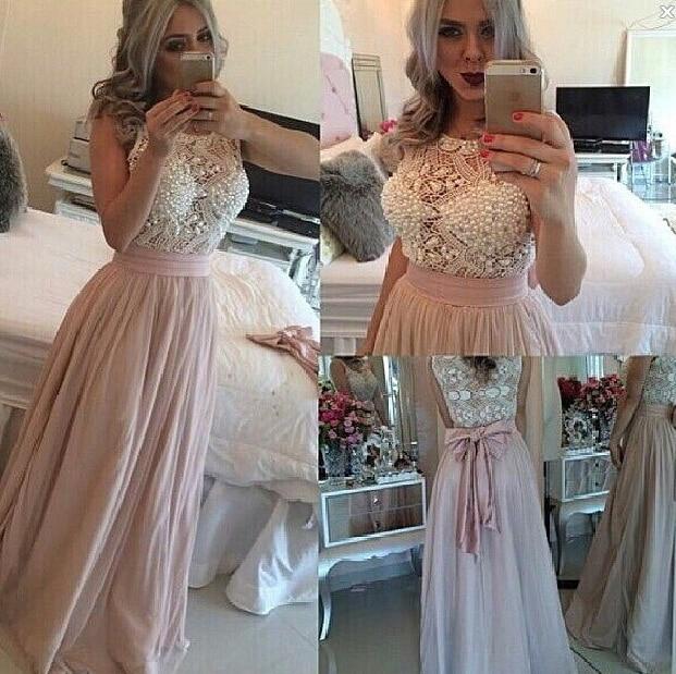 Custom Made Saudi Arabia Prom Dresses Pearls A-Line Chiffon Evening Dresses 2015formal Gown Vestidos De Festa