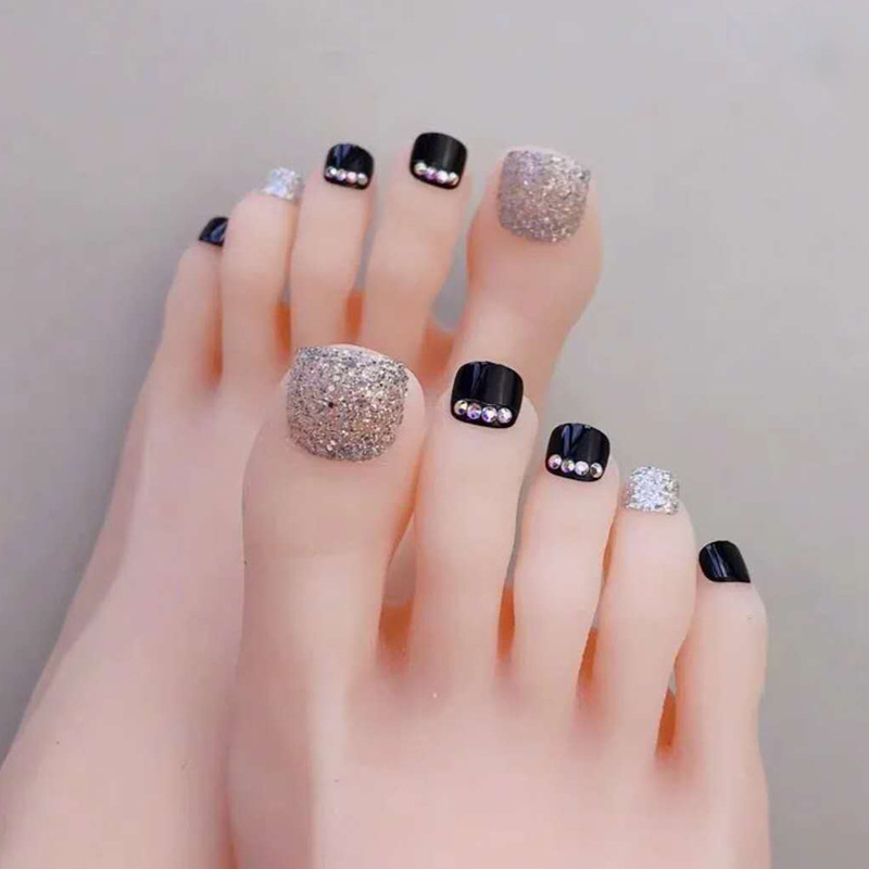 New Style Black Short With Diamond Shimmering Powder Deconstructable Toe Nail Tip Glue-Nail Tips Foot Nail Sticker