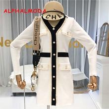 Alphalmoda outono 2019 novo francês com decote em v e manga comprida vestido de malha feminina cintura fina falso bolso moda outfit