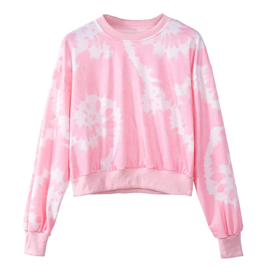 JAYCOSIN Trend Short Ladies Casual Pink tie-dyed Pullover Sweatshirt Loose Round Neck Sweatshirt Fashion Daily Wear