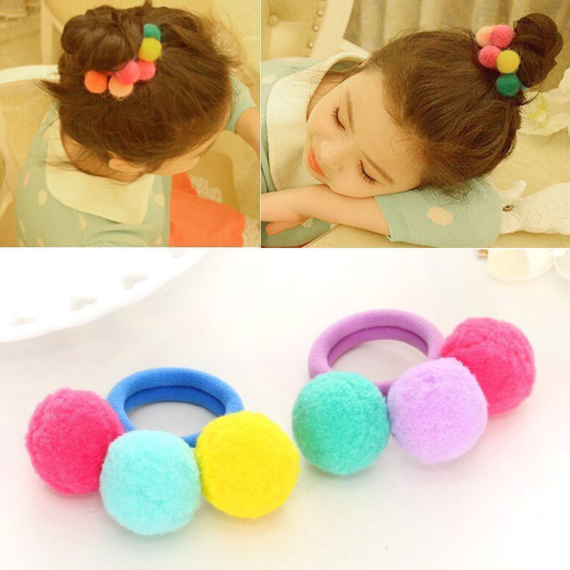 12 Pcs 6 Pairs Colored Pom Ball Elastic Hair Ties Girls' Ponytail Holder Kids Hair Bands Accessories Children's Hair Accessories