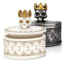 Creative Gothic Vintage Mini Storage Box Skeleton Skull Crown Jewelry Necklace Earromgs Organizer Holder Desktop Decor(China)