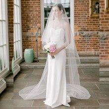 Elegante 2 t véu de casamento longo macio véus de noiva com pente de duas camadas marfim branco noiva véu acessórios de casamento