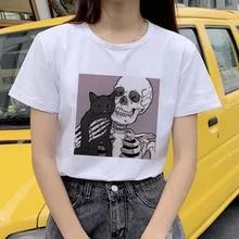 Camiseta feminina kawaii bonito gato camiseta com manga curta harajuku horro crânio impresso oversized camiseta feminina topos t roupas