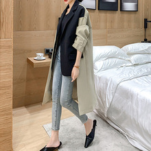 Spring New Women Blazer Patchwork Trench Coat Female Desinger Middle Long Coat O
