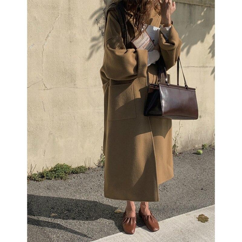 Купить женское двухстороннее шерстяное пальто черно серое свободное