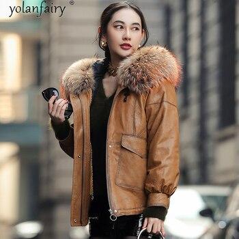 YOLANFAIRY-Chaqueta de piel auténtica para Mujer, chaqueta de plumón, Abrigo corto de...