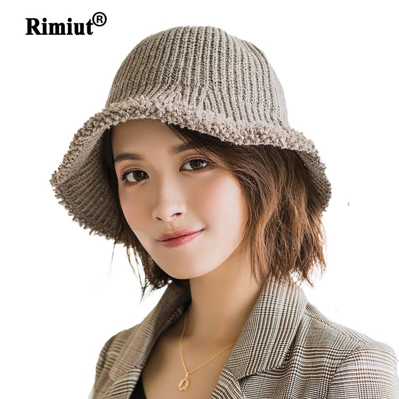 Women Winter Knitted Bucket Hat Beanie Cap Warm Fashion Wool Hat Simple Basin Caps Autumn Winter Women Hats Knitted Beanies Caps
