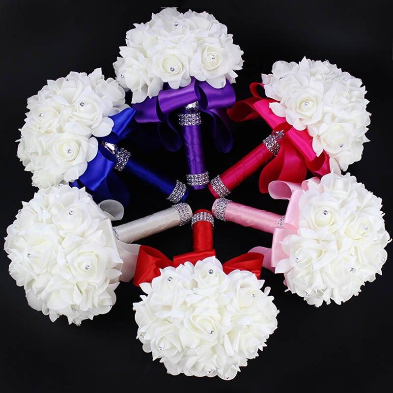 succulent bouquet Ivory Bridal PE Rose Wedding Bridesmaid Foam Flowers Rose Bridal Bouquet Ribbon Fake Wedding bouquet de noiva