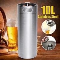 10L 304 Stainless Steel Mini Beer Keg Homebrew Pressurized Growler Portable Beer Bottle Home Brewing Beer Making Tool