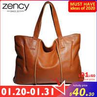 Zency 100% bolso de cuero genuino bolso de hombro de gran capacidad para mujer Retro bolso de mano alta calidad Hobos marrón bolsas de compras