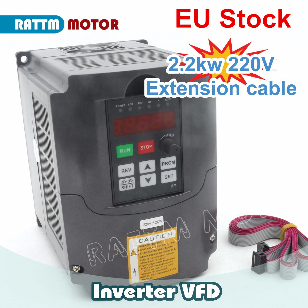 RUS/ EU Delivery!! 2.2KW <font><b>220V</b></font> 3HP Variable Frequency VFD <font><b>Inverter</b></font> Output <font><b>3</b></font> <font><b>phase</b></font> 400Hz 10A &Extension cable/control panel box image