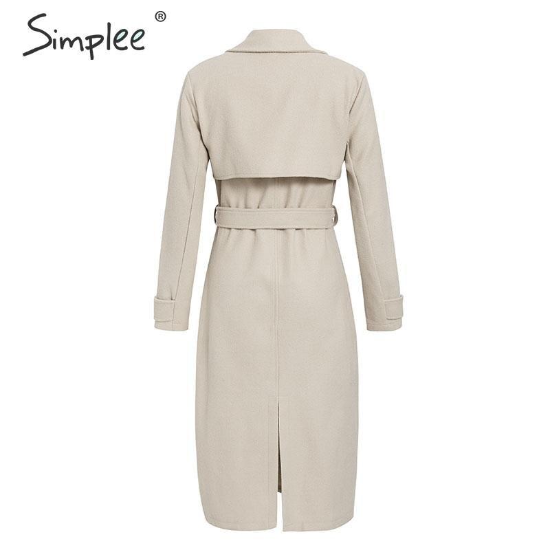 Simplee Wool blend winter tweed coat women Long sleeve elegant sash belt female outwear coat Autumn winter streetwear coat 10
