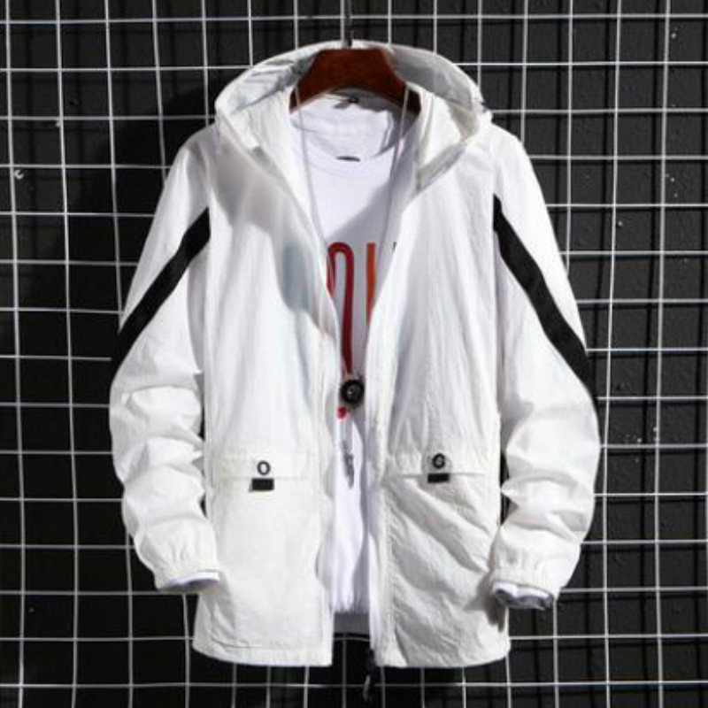 Summer 2020 New Hooded Jacket Loose Contrast Color Matching Jacket Male Japanese Streetwear Men's Jacket Sunscreen Clothing