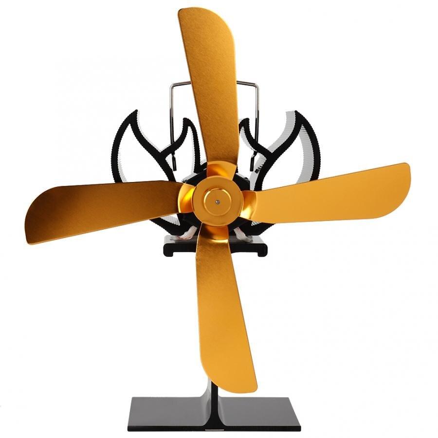 4 Gold Blades Eco-friendly Fireplace Heat Fan Heat Powered Stove Fan High Quality