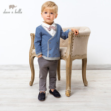 DB17689 dave bella spring baby boys casual removable bow clothing sets kids fashion long sleeve sets children 2 pcs suit