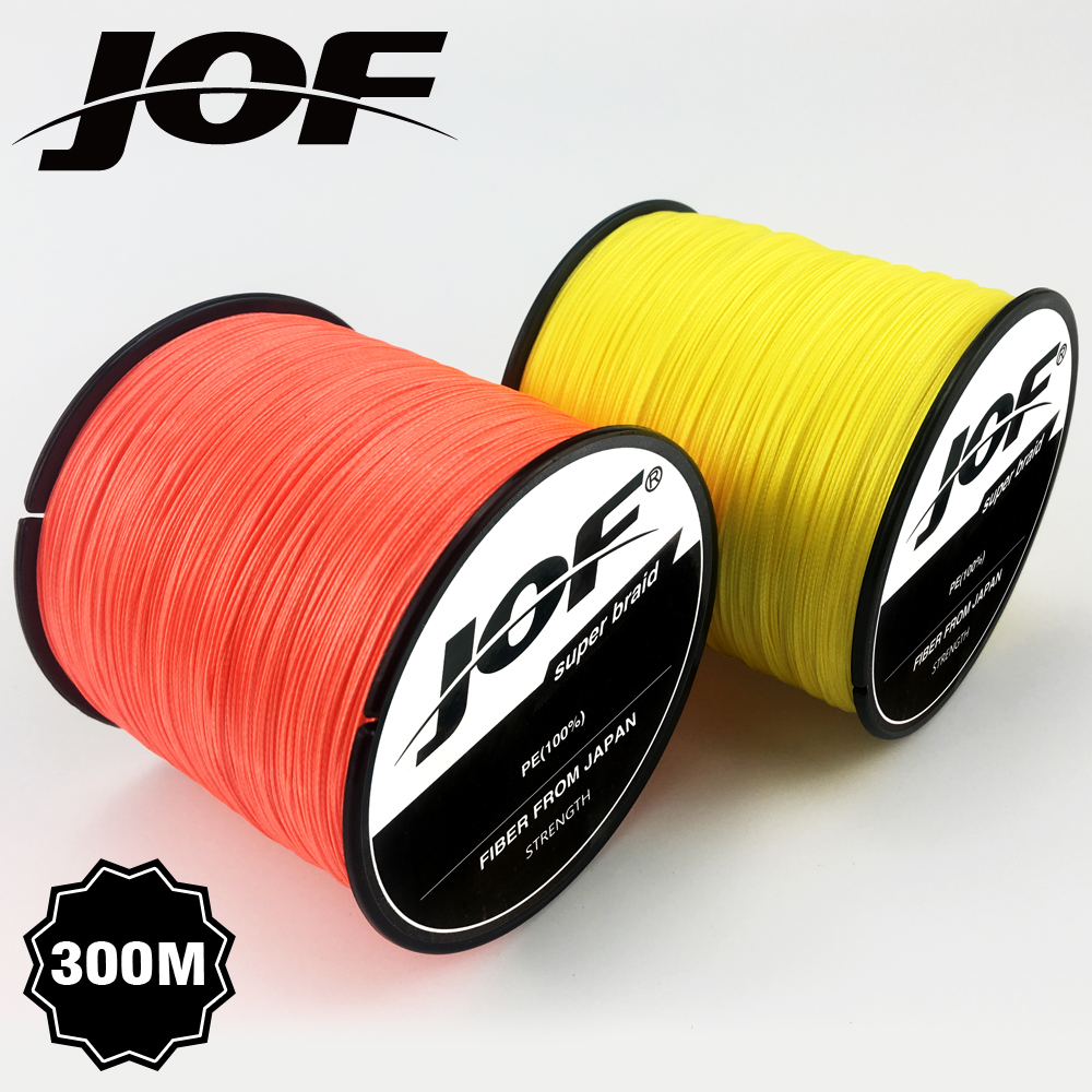 JOF 300M 8 Strands 4 Strands 18-88LB PE Braided Fishing Wire Fishing Line Multicolor
