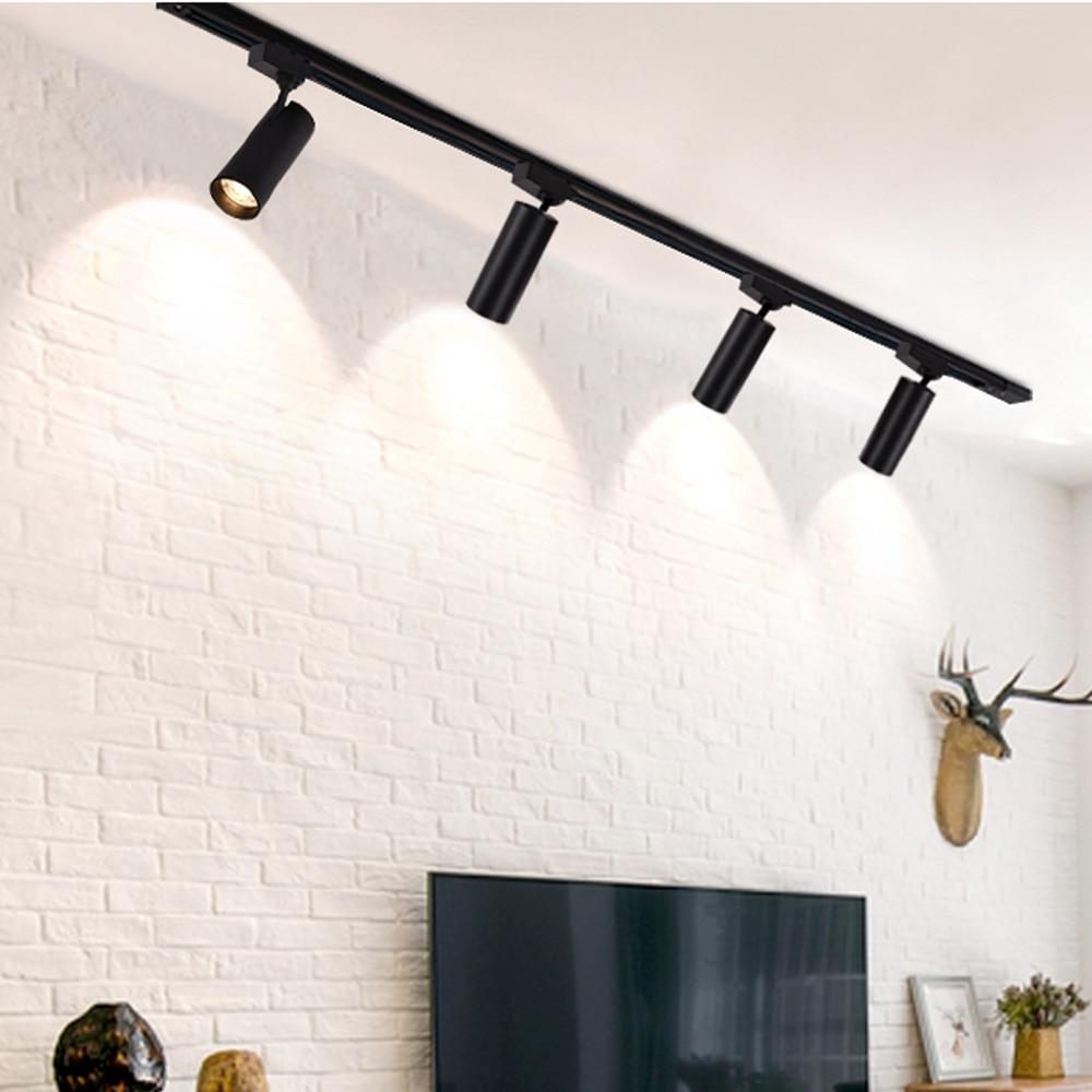 Işıklar ve Aydınlatma'ten Raya Monte Aydınlatma'de Zerouno Led parça ışıkları siyah altın alüminyum GU10 Led ampuller kapalı izleme aydınlatma dönen ayarlanabilir 220V oturma odası lambaları title=