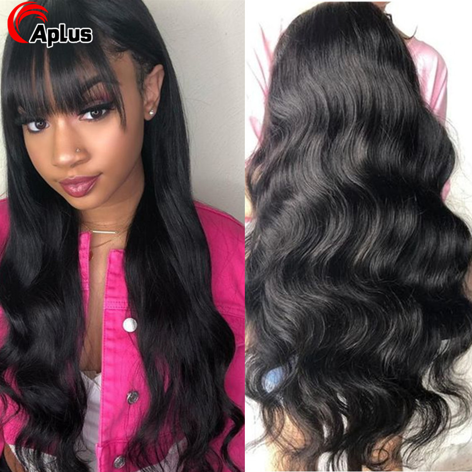 30 Inch Lace Frontal Wig Body Wave Human Hair Wig With Bangs 13x4 13x6 Lace Front Wig 150 Density Brazilian Lace Wigs Remy