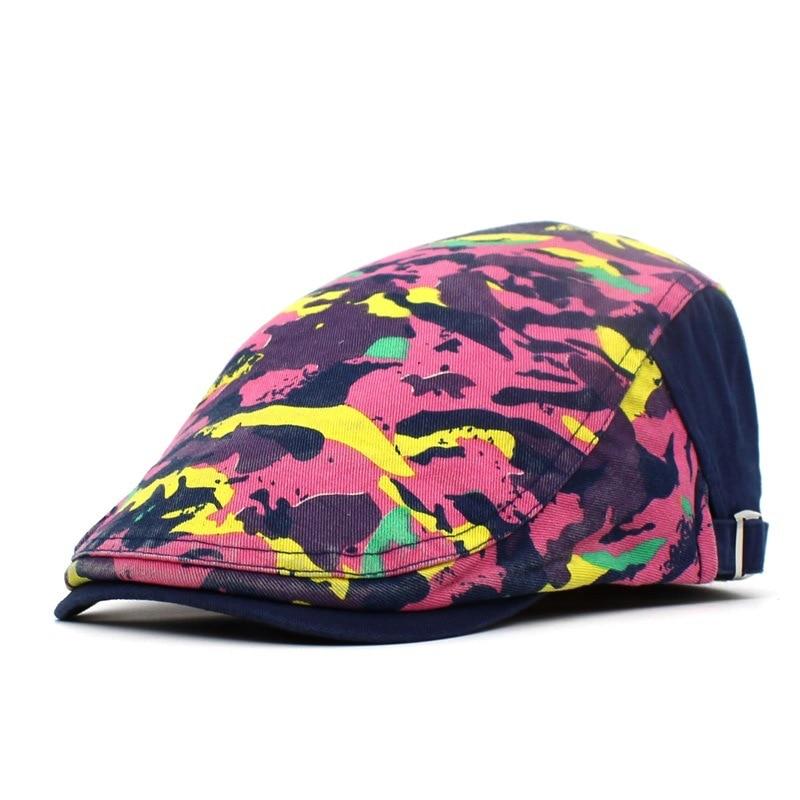 Spring Summer Camouflage Print Newsboy Caps Men Cotton Flat Peaked Cap Women Painter Beret Hats 14