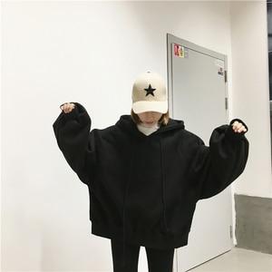 Image 4 - Sweat à capuche pour femmes, Ulzzang Harajuku, couleur unie, sweat shirt à capuche, grande taille, mode hiver, 2020, sweat à capuche avec cordon