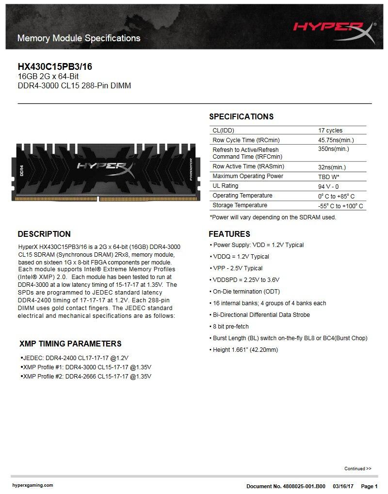 Kingston hyperx ddr4 16g 3000 mhz DDR4-3000