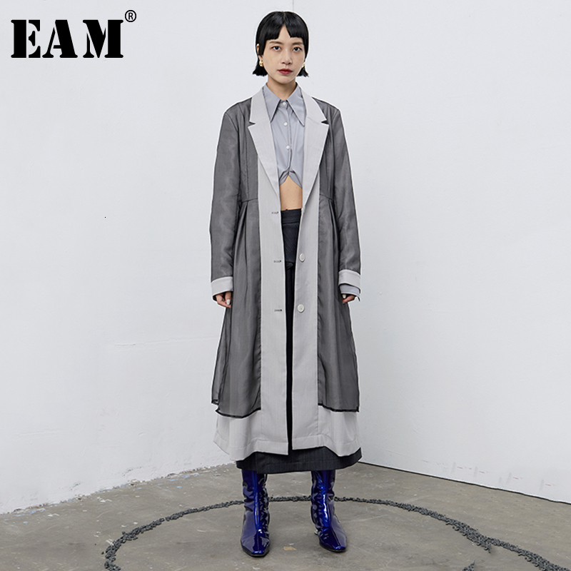 [EAM] Women Spliced Mixed Color Trench New Lapel Long Sleeve Loose Fit Windbreaker Fashion Tide Autumn Winter 2019 1B675