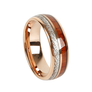 Image 2 - Custom LOVE Alliances wood meteorolites 8mm Tungsten Carbide ring Rose Gold Color wedding band Couple rings for men and women