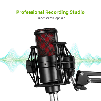 Profession studio Recording Microphone 3.5mm Condenser Microphone for PC Computer with Stand Shock Mount mic for YouTube Gaming cardioid directional condenser microphone for youtube broadcast gaming usb microphone for computer recording mic with stand