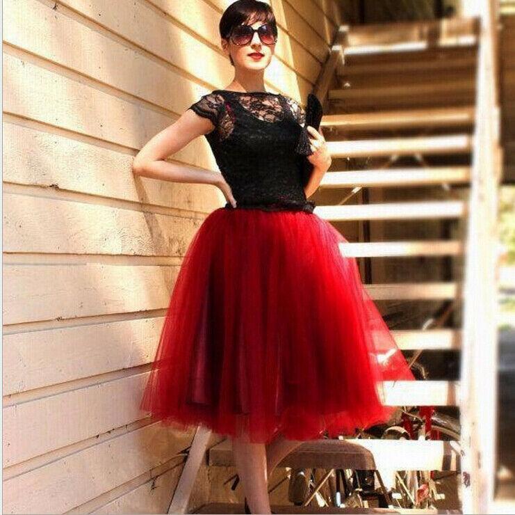 2020 7 Layers Midi Tulle Skirt For Girls Fashion Tutu Skirts Women Solid Lace Ball Gown Party Petticoat Lolita Faldas Saia Jupe