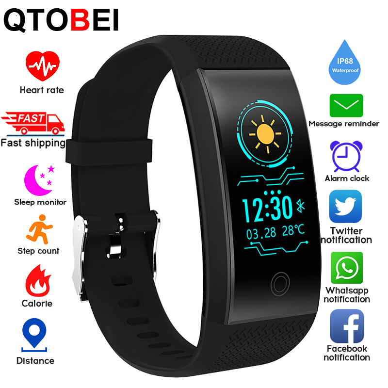 Smart Fitness Bracelet Ip68 Heart Rate Fitness Tracker Pedometer 0 96   Screen Sport Smart Band Watch Men Women For Android IOS