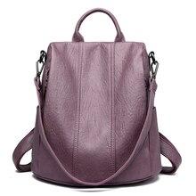 على ظهره المرأة حقيبة جلدية 2019 مقاوم للماء الظهر حزمة سعة كبيرة الحقائب المدرسية للمراهقات مكافحة سرقة حقيبة السفر