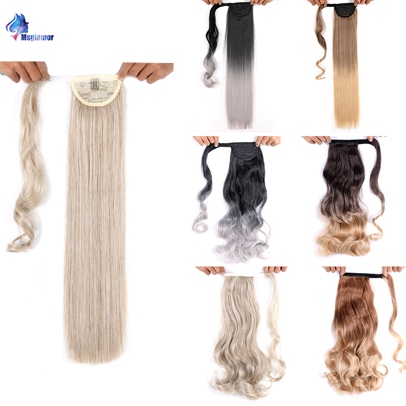 Fake Hair Tail Long Straight False Hair Pieces Synthetic Ombre Pony Tail Clip In Curly Ponytail Hair Extension For Women Msglamo