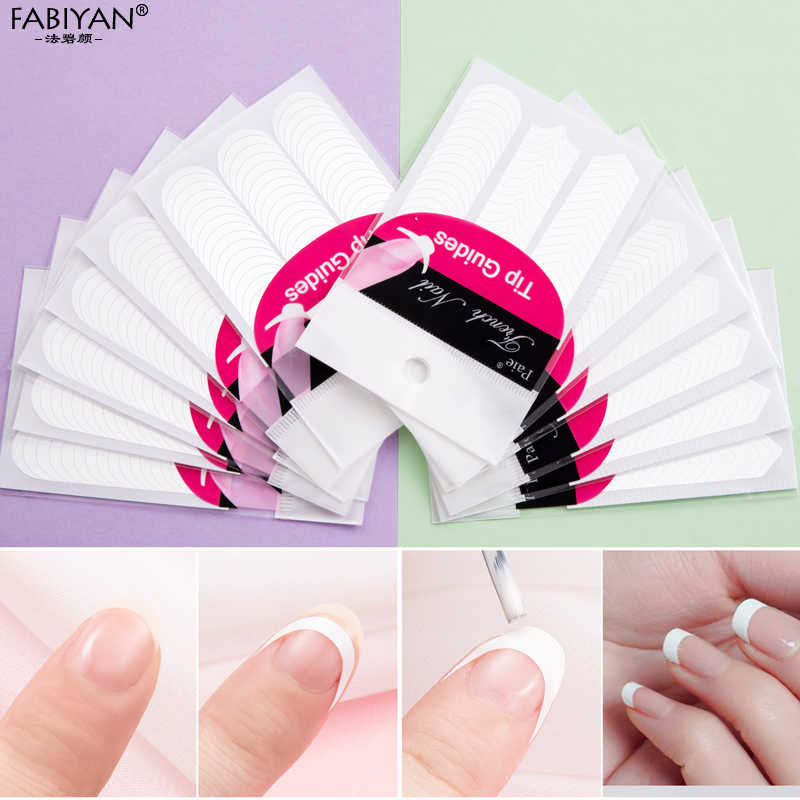 Lot 10 Packs Vorm Gids Stickers Tips Ontwerp Decal French Manicure Nail Art Fringe Diy Salon Nieuwe Stencil Groothandel Professionele