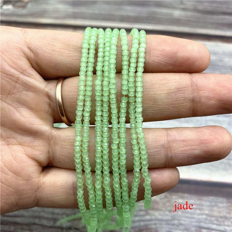 1 нитка 1X2 мм/2X3 мм маленькие хрустальные бусины Rondelle бисер-разделитель маленькие бусины для изготовления ювелирных изделий Diy - Цвет: jade