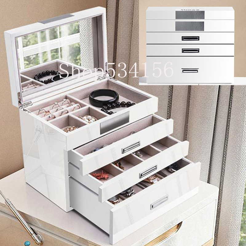 White+black Large 4 layer Wooden Jewellery Box Girls Display Organiser Velvet Earrings Watch Storage Box Packaging Mirror Case