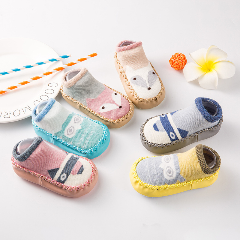 Baby shoes socks children infant toddler character shoes cartoon socks baby gift kids indoor floor socks leather sole non-slip thick towel socks