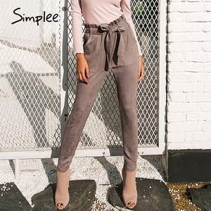 Simplee Suede high waist pencil pants capris Women bottom sash streetwear casual pants 2018 Autumn chic black winter trousers