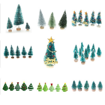 1-12pcs Small DIY Christmas Tree Fake Pine Tree Mini Sisal Bottle Brush Christmas Tree Santa Snow Frost Village House image